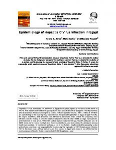 Epidemiology of Hepatitis C Virus Infection in Egypt - Journal Repository