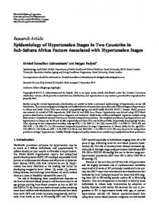 Epidemiology of Hypertension Stages in Two Countries in Sub-Sahara ...