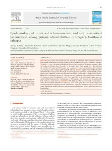Epidemiology of intestinal schistosomiasis and soil transmitted ...