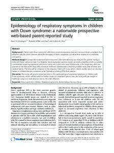 Epidemiology of respiratory symptoms in children with Down syndrome