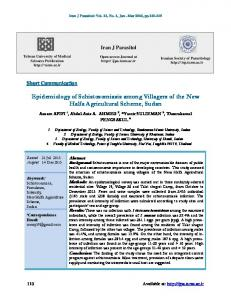 Epidemiology of Schistosomiasis among Villagers of the New Halfa ...