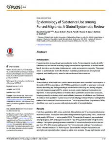 Epidemiology of Substance Use among Forced Migrants: A ... - PLOS