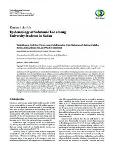 Epidemiology of Substance Use among University Students in Sudan