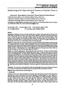 Epidemiology of the Upper Extremity Trauma in a ... - Semantic Scholar
