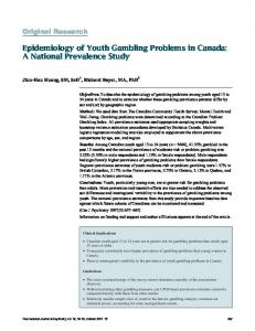 Epidemiology of Youth Gambling Problems in Canada: A National ...