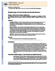 Epidemiology of Youth Suicide - Mindpeace