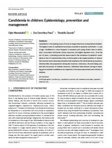 Epidemiology, prevention and management - Wiley Online Library