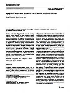 Epigenetic aspects of MDS and its molecular targeted ... - Springer Link