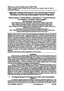 Epigenetic Changes Of Oncogenic And Anti ... - IOSR journals