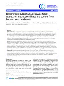 Epigenetic regulator MLL2 shows altered expression ... - ScienceOpen
