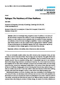 Epilogue: The Machinery of Urban Resilience - MDPI