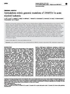 Epimutations mimic genomic mutations of DNMT3A in ... - BioMedSearch