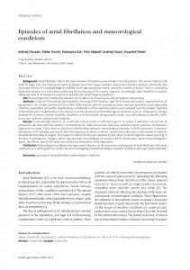 Episodes of atrial fibrillation and meteorological conditions - CiteSeerX