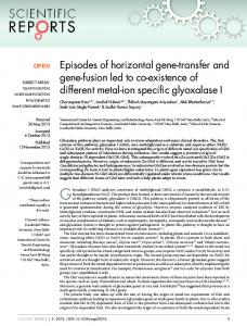 Episodes of horizontal gene-transfer and gene-fusion ... - BioMedSearch