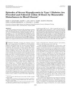 Episodes of Severe Hypoglycemia in Type 1 Diabetes Are Preceded ...
