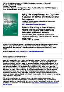 Episodic Encoding in Normal Aging