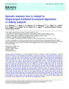 Episodic memory loss is related to hippocampal ... - Oxford Journals