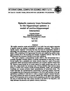 Episodic memory trace formation in the hippocampal system: a model ...