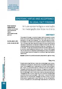 epistemic virtue and acceptance in legal fact-finding - Revistas UFRJ