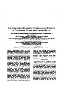 epistemological beliefs of undergraduate students as ... - SSRN papers