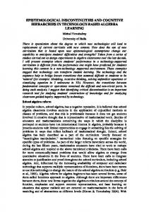 epistemological discontinuities and cognitive