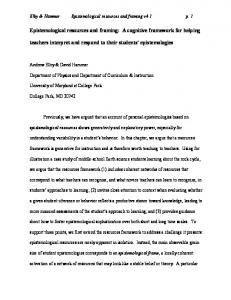 Epistemological resources and framing - Physics Department ...