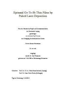 Epitaxial Ge-Te-Sb Thin Films by Pulsed Laser Deposition - Qucosa