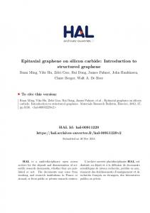 Epitaxial graphene on silicon carbide: Introduction to ... - HAL-Inria