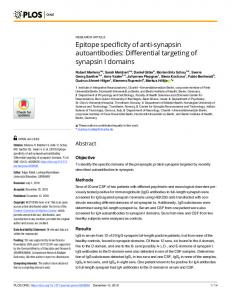 Epitope specificity of anti-synapsin autoantibodies: Differential ... - PLOS