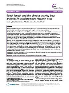 Epoch length and the physical activity bout analysis - Springer Link