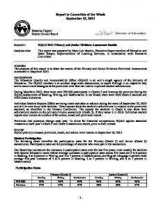 EQAO 2013 Primary and Junior Divisions Assessment Results