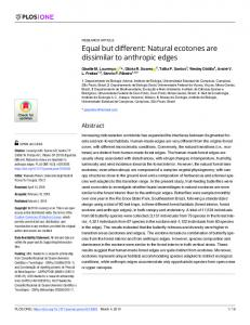 Equal but different: Natural ecotones are dissimilar to ... - PLOS
