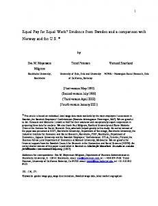 Equal Pay for Equal Work? Evidence from Sweden and a comparison ...