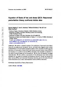Equation of State of hot and dense QCD: Resummed perturbation ...