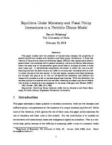 Equilibria Under Monetary and Fiscal Policy ... - Semantic Scholar
