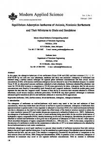 Equilibrium Adsorption Isotherms of Anionic, Nonionic Surfactants and ...
