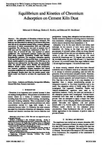 Equilibrium and Kinetics of Chromium Adsorption on Cement ... - IAENG