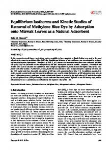 Equilibrium Isotherms and Kinetic Studies of Removal of Methylene ...