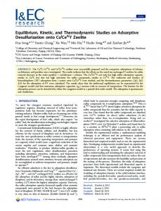Equilibrium, Kinetic, and Thermodynamic Studies on Adsorptive
