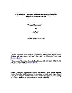 Equilibrium Leasing Contracts under Double-sided ... - Boston College
