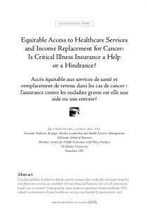 Equitable Access to Healthcare Services and Income Replacement for ...