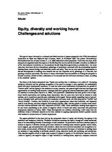 Equity, diversity and working hours: Challenges and solutions - SciELO