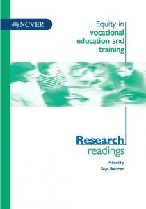 Equity in vocational education and training: Research readings - Eric