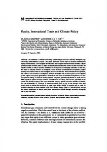 Equity, International Trade and Climate Policy - CiteSeerX
