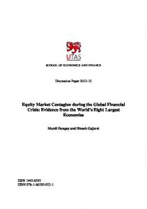 Equity Market Contagion during the Global Financial ... - UTas ePrints