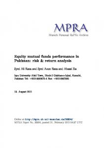 Equity mutual funds performance in Pakistan: risk & return analysis