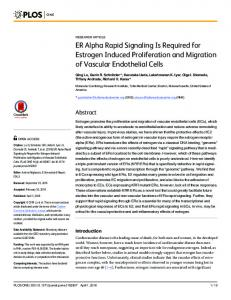 ER Alpha Rapid Signaling Is Required for Estrogen Induced ... - Plos