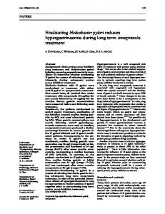 Eradicating Helicobacter pylori reduces hypergastrinaemia ... - NCBI
