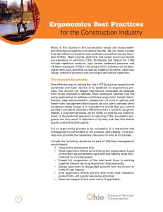 Ergonomics Best Practices for the Construction Industry