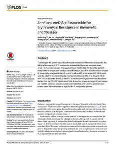 ErmF and ereD Are Responsible for Erythromycin